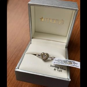 Diamond Heart Ring In 14k gold/Sterling